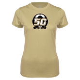 Ladies Syntrel Performance Vegas Gold Tee-50th Soccer Logo