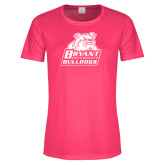 Ladies Performance Hot Pink Tee-Bryant Official Logo