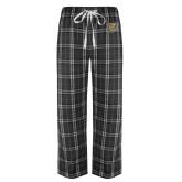 Black/Grey Flannel Pajama Pant-Bulldog Head