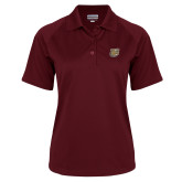 Ladies Maroon Textured Saddle Shoulder Polo-Bulldog Head