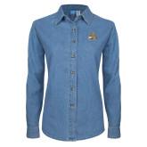 Ladies Denim Long Sleeve Shirt-Bryant Official Logo