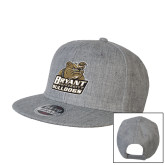 Heather Grey Wool Blend Flat Bill Snapback Hat-Bryant Official Logo