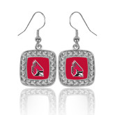 Crystal Studded Square Pendant Silver Dangle Earrings-Cardinal