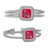 Crystal Studded Cable Cuff Bracelet With Square Pendant-Cardinal
