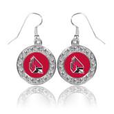 Crystal Studded Round Pendant Silver Dangle Earrings-Cardinal