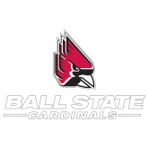 Extra Large Decal-Cardinal Head Ball State Cardinals, 18 inches wide