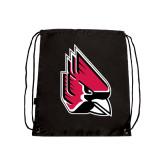 Nylon Black Drawstring Backpack-Cardinal