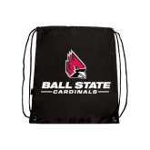 Black Drawstring Backpack-Ball State Cardinals w/ Cardinal