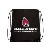 Nylon Black Drawstring Backpack-Ball State Cardinals w/ Cardinal