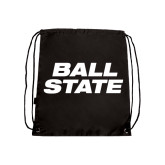 Black Drawstring Backpack-Ball State Stacked