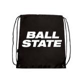 Nylon Black Drawstring Backpack-Ball State Stacked