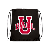 Black Drawstring Backpack-Ball U