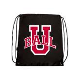 Black Drawstring Backpack-Ball U