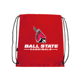 Red Drawstring Backpack-Cardinal Head Ball State Cardinals