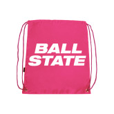 Pink Drawstring Backpack-Ball State Stacked