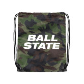 Camo Drawstring Backpack-Ball State Stacked