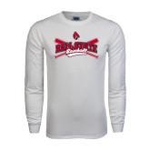 White Long Sleeve T Shirt-Baseball Crossed Bats