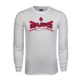 White Long Sleeve T Shirt-Baseball Crossed Bats