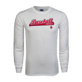 White Long Sleeve T Shirt-Script Baseball