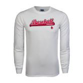White Long Sleeve T Shirt-Script Baseball