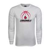 White Long Sleeve T Shirt-Cardinals Basketball Stacked