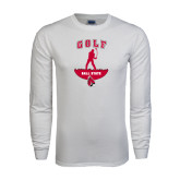 White Long Sleeve T Shirt-Golf Stacked