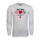 White Long Sleeve T Shirt-Soccer Just Kick It