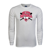 White Long Sleeve T Shirt-Softball Bats and Plate