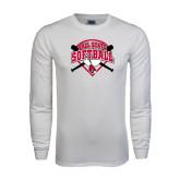 White Long Sleeve T Shirt-Softball Bats and Plate
