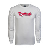 White Long Sleeve T Shirt-Softball Script