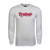 White Long Sleeve T Shirt-Softball Script