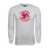 White Long Sleeve T Shirt-Volleyball Circle