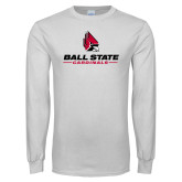 White Long Sleeve T Shirt-Cardinal Head Ball State Cardinals