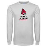 White Long Sleeve T Shirt-Cardinal Head Ball State Cardinals Vertical