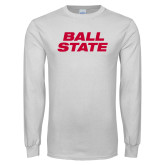 White Long Sleeve T Shirt-Ball State Wordmark Vertical