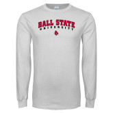 White Long Sleeve T Shirt-Ball State University Arched