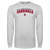 White Long Sleeve T Shirt-Ball State University Cardinals Arched