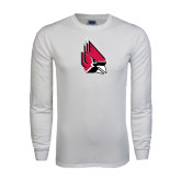White Long Sleeve T Shirt-Cardinal