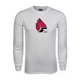 White Long Sleeve T Shirt-Cardinal