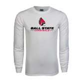 White Long Sleeve T Shirt-Ball State Cardinals w/ Cardinal