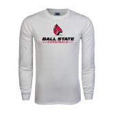 White Long Sleeve T Shirt-Ball State Cardinals w/ Cardinal