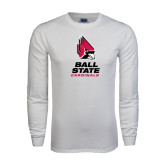 White Long Sleeve T Shirt-Ball State Cardinals Stacked