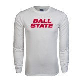 White Long Sleeve T Shirt-Ball State Stacked