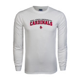 White Long Sleeve T Shirt-Arched Ball State University Cardinals