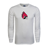 White Long Sleeve T Shirt-Cardinal Distressed