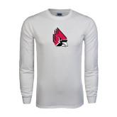 White Long Sleeve T Shirt-Cardinal Distressed