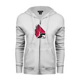 ENZA Ladies White Fleece Full Zip Hoodie-Cardinal