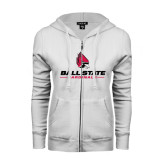 ENZA Ladies White Fleece Full Zip Hoodie-Ball State Cardinals w/ Cardinal