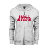 ENZA Ladies White Fleece Full Zip Hoodie-Ball State Stacked
