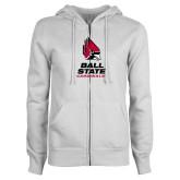ENZA Ladies White Fleece Full Zip Hoodie-Cardinal Head Ball State Cardinals Vertical